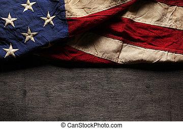 memoriał, stary, bandera, używany, dzień, amerykanka, 4 lipca, albo