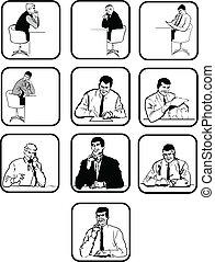 men., sylwetka, dziesięć, biuro, wektor