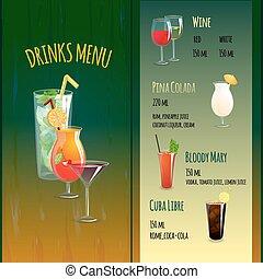 menu, bar, cocktail