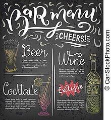 menu, bar, szablon