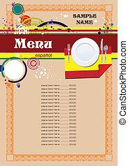 menu, (cafe), hiszpański, restauracja