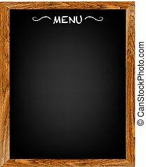 menu, drewno, deska, restauracja