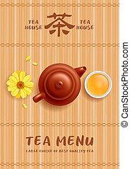 menu, garnek, filiżanka, chińczyk, szablon, herbata