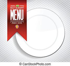 menu, hiszpański, chorągiew, struktura, restauracja