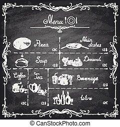 menu, ilustracja, chalkboard, pisemny, wektor