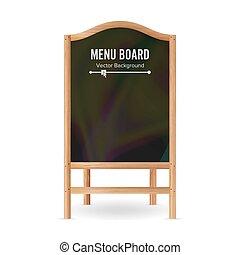 menu, ilustracja, czarnoskóry, deska, vector., czysty, opróżniać, chalkboard