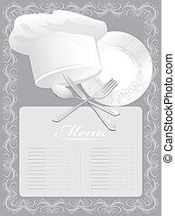 menu, karta, czysty