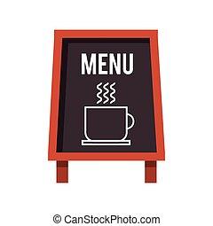 menu, kawa, chalkboard, restauracja