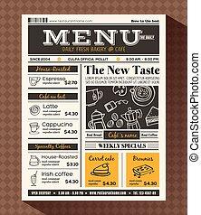 menu, kawiarnia, projektować, szablon, restauracja