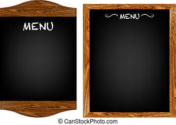 menu, komplet, tekst, deska, restauracja