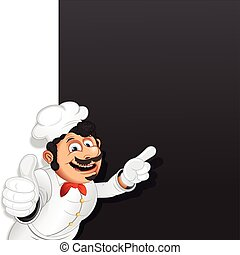 menu, mistrz kucharski, kok, wektor, szablon, chalkboard.