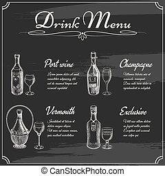 menu, napój, chalkboard, elementy
