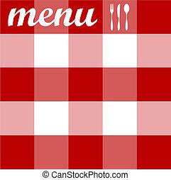menu, nożownictwo, struktura, tablecloth, czerwony, design.
