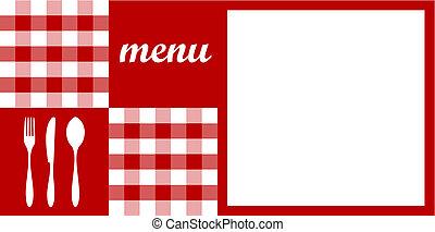 menu, nożownictwo, tekst, tablecloth, biały czerwony, design.
