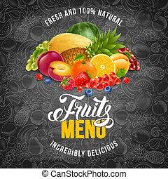 menu, owoce
