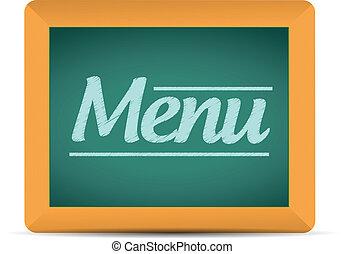menu, pisemny, wiadomość, chalkboard, ilustracja
