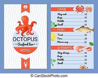 menu, produkty morza, bar, płaski, afisz