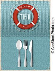 menu, produkty morza, projektować, retro, restauracja