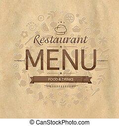 menu, projektować, retro, restauracja