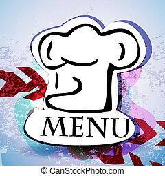 menu, restauracja, design.