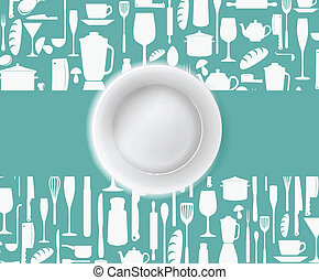 menu, restauracja, projektować, płyta