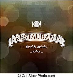 menu, retro, restauracja