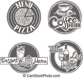 menu, rys, etykiety, komplet, restauracja