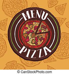menu, rys, pizza