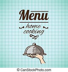 menu, rys, projektować, restauracja
