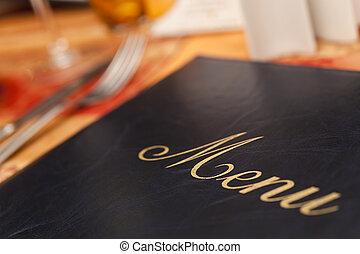 menu, &, stół, nożownictwo, restauracja