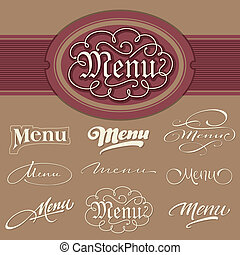 menu, (vector), nagłówki, komplet