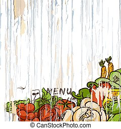 menu, warzywa, drewno, tło