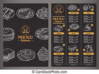 menu, wektor, restauracja