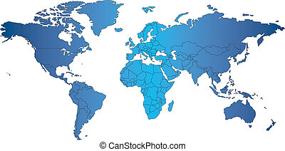 mercator, świat, kraje, mapa
