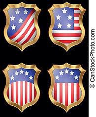 metal, amerykanka, tarcza, bandera, błyszczący
