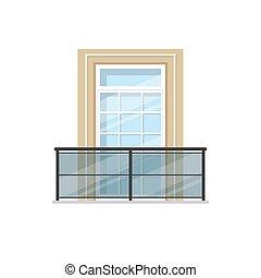 metal, balkon, poręcze, balustrada, szkło