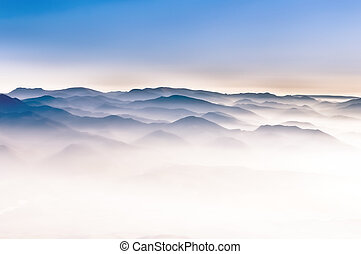 mglisty, górki, góra, szczegół, krajobraz, prospekt