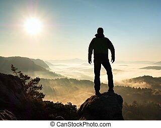 mglisty, wycieczkowicz, stać, skała, czarnoskóry, rano, jesienny, daszek, nature.