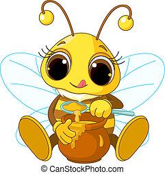 miód, jedzenie, sprytny, pszczoła