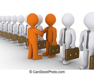 między, biznesmeni, dwa, kooperacja, wybór