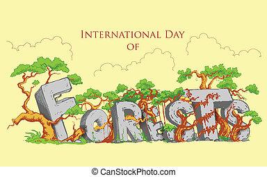 międzynarodowy, las, dzień