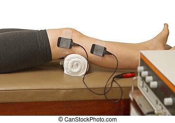 mięsień, strenght, pacjent, stimulator, ból, wzrastać, eletrical, traktowanie, terapeuta, zwolnić
