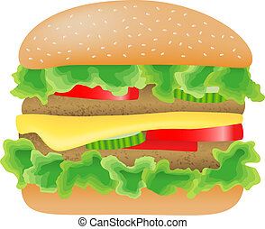 mięso, pomidor, sałata, ogórek, ser, hamburger