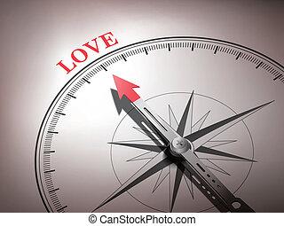 miłość, busola, abstrakcyjny, igła, spoinowanie, słowo
