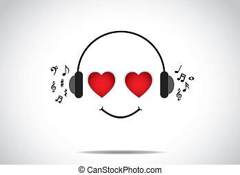 miłość, cieszący się, muzyka, osoba, uśmiech