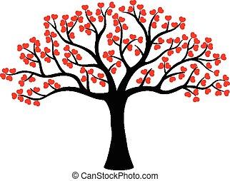 miłość, drzewo, robiony, rysunek, stylizowany