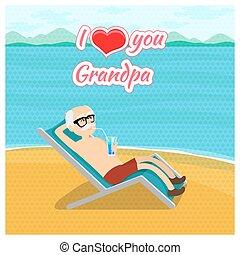 miłość, dziadkowie, concept., dzień, wektor, dziadunio, afisz, poczta, ty, karta, szczęśliwy