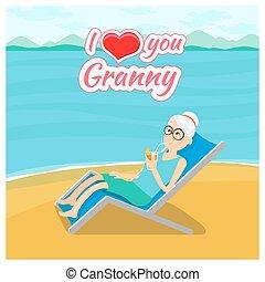 miłość, dziadkowie, dzień, tło., wektor, babunia, poczta, ty, karta