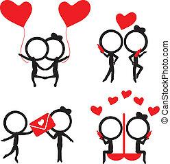 miłość, figura, pozycje, para, sylwetka, wtykać, czerwony