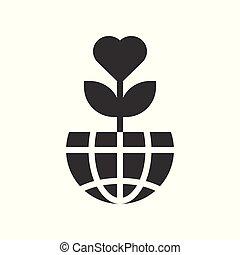 miłość, kula, drzewo, planeta, projektować, ziemia, albo, ikona